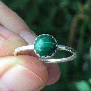 Jewelry - sterling silver green malachite stacking ring 🌿